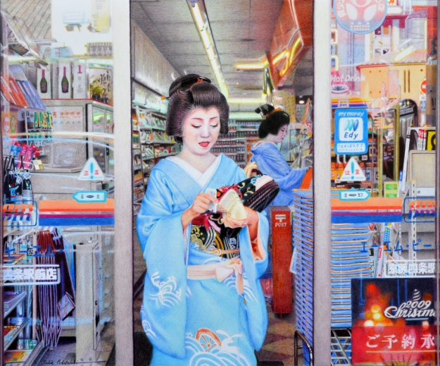 Dichotomy A coloured pencil drawing of Koai exiting a convenience store (with Makiko still at the counter). Drawn in 2010, 530 x 640 mm.