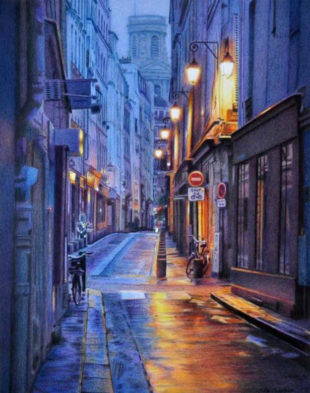 Rhapsody in Blue A drawing of rue de l'Echaudé at dawn. 400 x 510 mm. Coloured pencils.