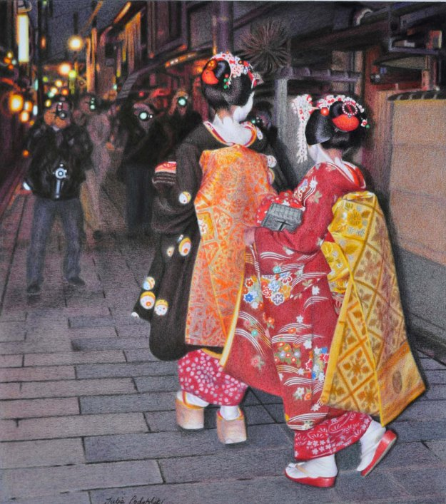 Surprise! Coloured pencil drawing from 2011. 360 x 410 mm. Two maiko round a corner to come face to face with waiting photographers.