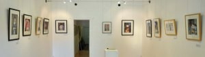 Some of the works hanging in the exhibition.