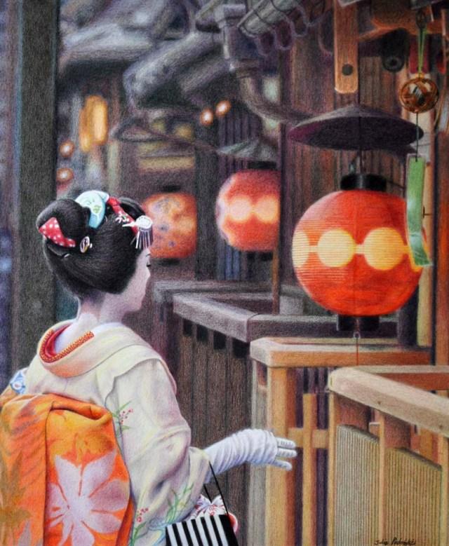 The Art of Elegance My drawing of Katsutomo with lanterns.