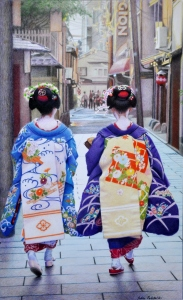 Out and About on a Gion Afternoon Coloured pencil drawing from 2009