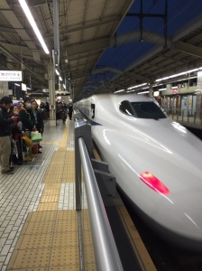 This Nozomi shinkansen has just deposited us back to Kyoto Station and is now pulling out (on the way to Tokyo)