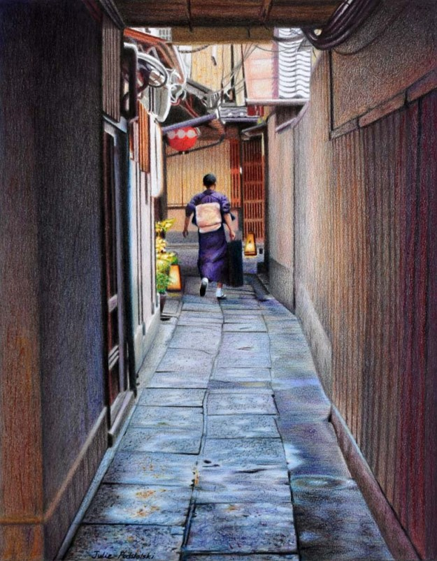 Passage Coloured pencils, Caran d'Ache Neocolor and Neopastels. 360 x 460 cm. March 2015