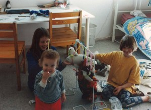 Three daughters playing 'Animals Gymnastics' some time ago.