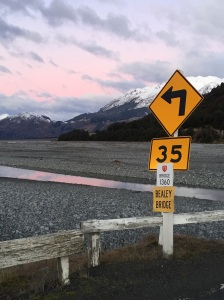 Signpost in the mountains. The river is the Waimakariri which flows to Christchurch.