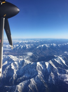 A closer view of the Southern Alps as we flew north.