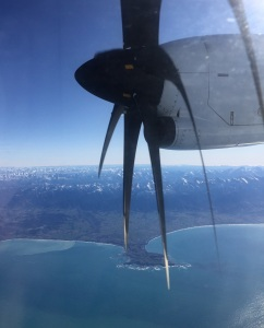 The township of Kaikoura is below. (The plane was an ATR 72.)