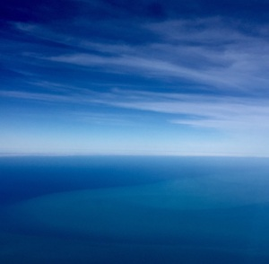 Beautiful blues of Tasman ocean and sky on the return flight.