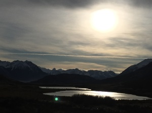 Late afternoon at Lake Coleridge. The winter sun in New Zealand sits low in the sky as we are so far south.