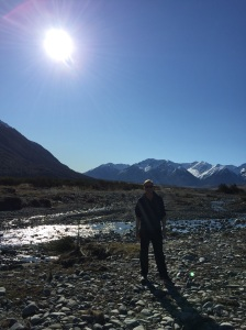 Matthew in front of the Wilberforce river.  There is that low winter sun again - and it is only around midday.