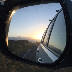 As we drive back across the Canterbury plains, the mountains recede in my rear view mirror and the sun sets. Goodbye New Zealand. See you next time!