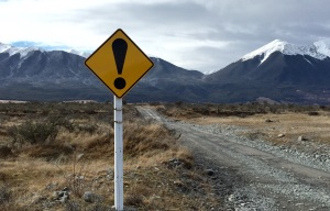"Going off road up to Mount White. I do enjoy the exclamation traffic signs in New Zealand. They seem to me to exclaim at the views. ""Look at this!"" they say."