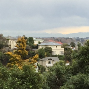 A hill in the suburb of Cashmere, Christchurch, with the Alps in the distance.