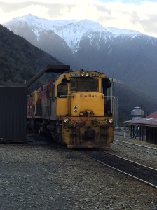 These engines are waiting for the Transalpine train to arrive from Greymouth. They are needed to haul the train up the steep incline to Arthur's Pass.