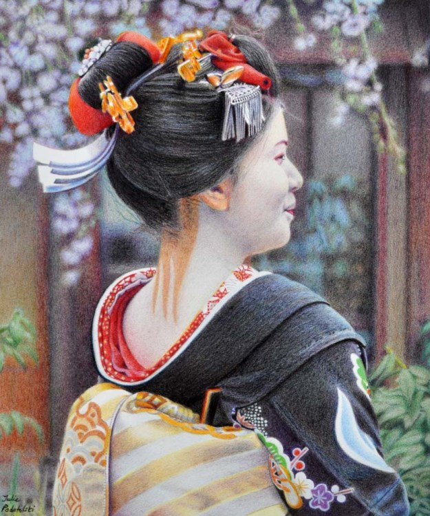 Costume Drama portrait of Kiyono Coloured pencils on Velin BFK Rives paper. 280 x 335 mm. August 2015