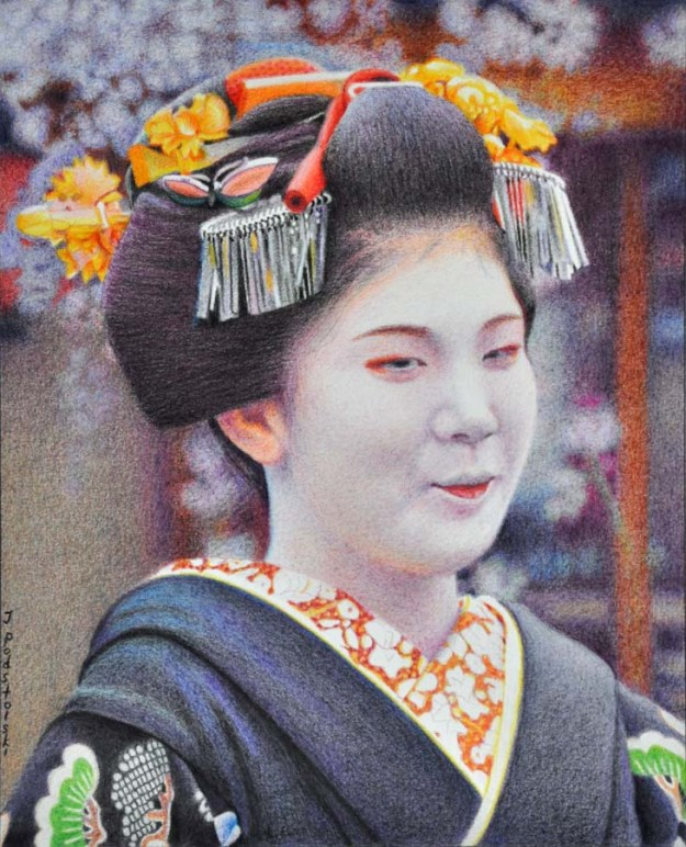 Her First Day Portrait of Kiyono-san on the occasion of her misedashi (debut) as a maiko. 210 x 260 mm. August 2015.