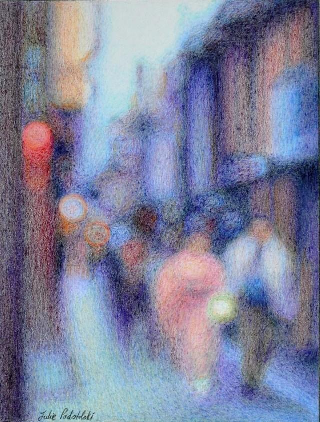 """Promenade"" A Pontocho impression 190 x 250 mm February 2016"