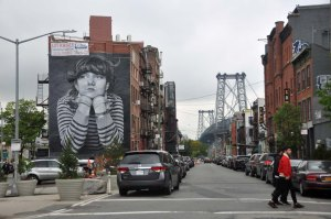 Just before returning to Manhattan over the Williamsburg Bridge I noticed some big street art.