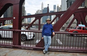 Bridges; elegant and imposing, cross the Chicago River at regular intervals. Matt's hat of choice alerted locals that he was not one of them.
