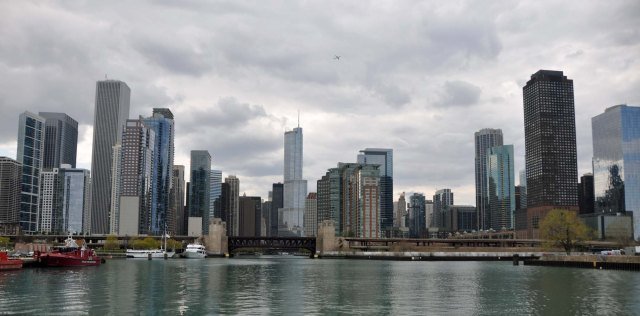 A wide view of Chicago from an architectural boat cruise.
