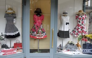 Blue Stocking dress shop. I am always fascinated by the clothes in the window.