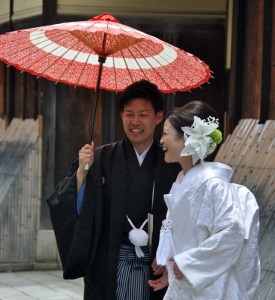 Joyful bride and groom.