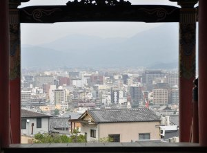 From up at Kiyamizu Temple there are expansive views to be had of the basin which Kyoto sits in, surrounded by mountains.