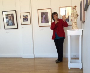 "Robyn at today's ""Artists Talk"" explaining her sculpture process."