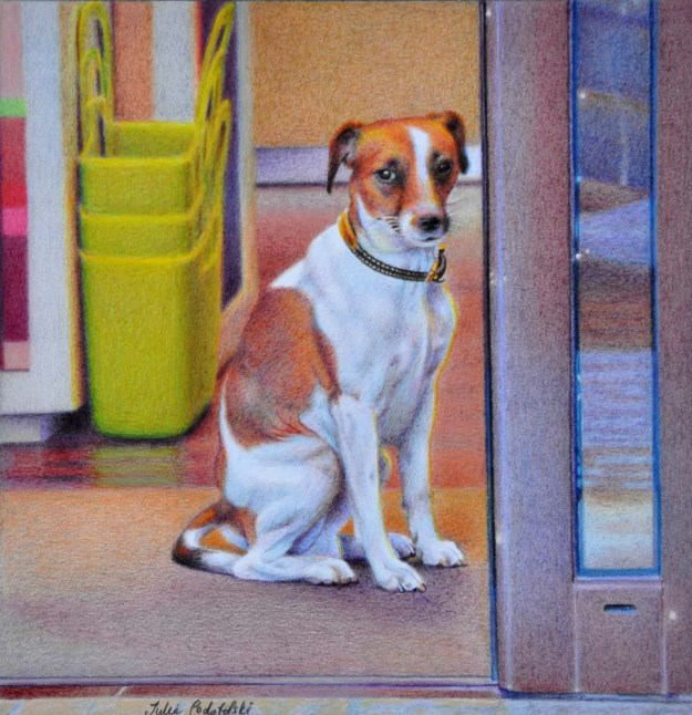 """Jacques Russell"" coloured pencil drawing of a Paris dog from a previous trip."