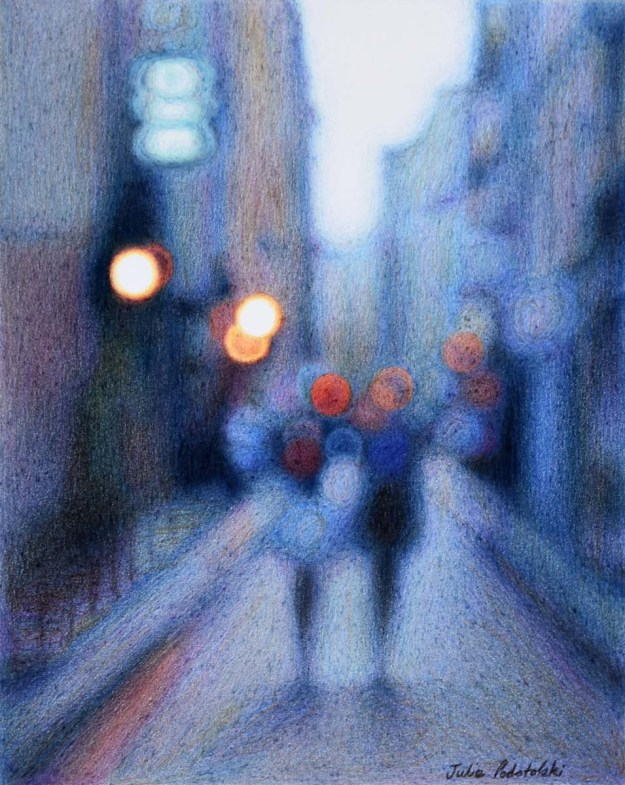 """Nearly Dusk"" A coloured pencil drawing of an afternoon on rue Quincampoix. December 2016."