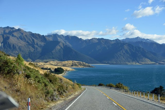 "View from the road at Lake Hawea. Oprah Winfrey and Reese Witherspoon were being filmed close by for ""A Wrinkle in Time"". No, I didn't see them - but I knew they were about."
