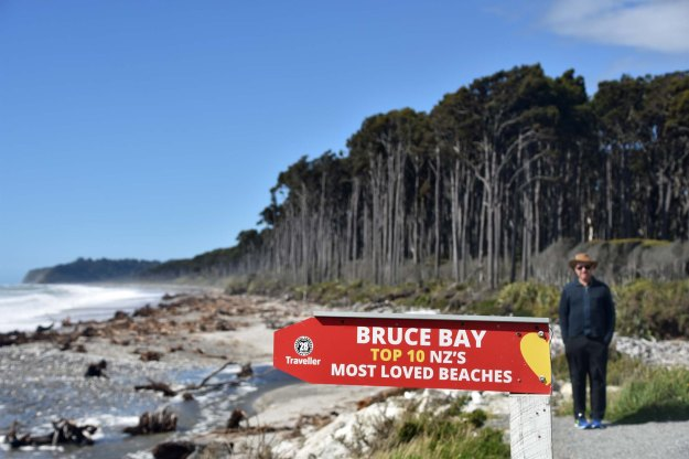 Over on the west coast of New Zealand is another thoroughly wild beach named Bruce bay. Actually the whole west coast coastline is untamed. Waves are extraordinarily powerful and the winds howl.