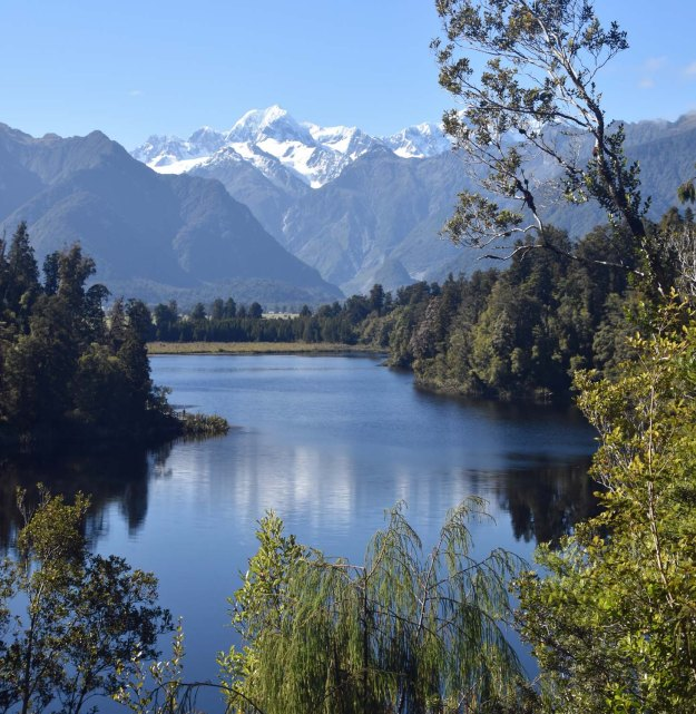 North from Bruce Bay is the Franz Josef glacier and Lake Matheson. The lake is famous for its reflections of the Southern Alps. We came along slightly too late in the morning for the lake to be still like a mirror.