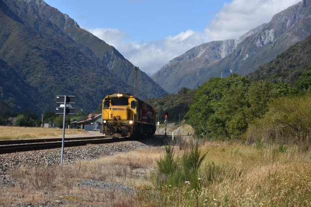 Matt and I stopped at Otira to pay homage to a view which I had once painted. Happily for us, a coal train appeared.