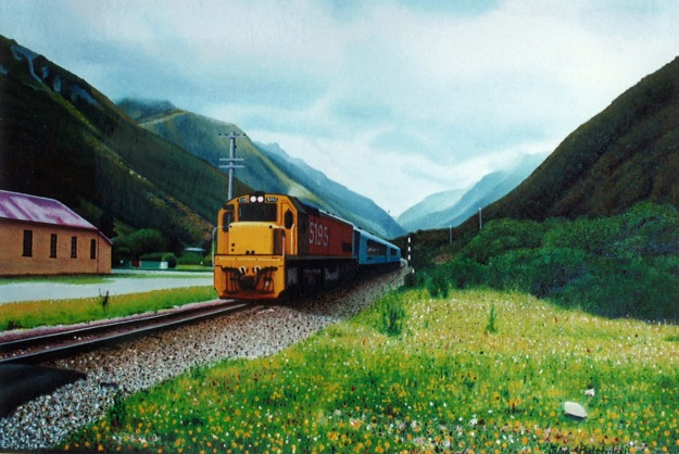 """Track and Field"" - an oil painting from 2002."